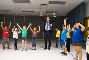Dr. Brabrand dances with students
